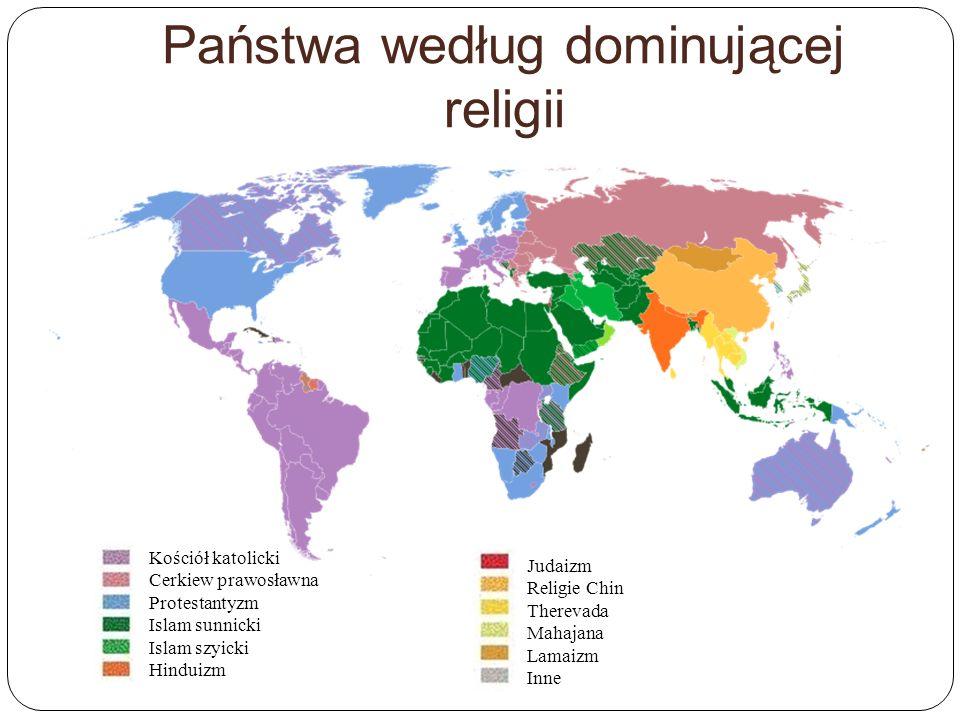 Państwa według dominującej religii Kościół katolicki Cerkiew prawosławna Protestantyzm Islam sunnicki Islam szyicki Hinduizm Judaizm Religie Chin Ther