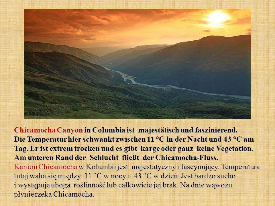 Chicamocha Canyon in Columbia ist majestätisch und faszinierend. Die Temperatur hier schwankt zwischen 11 °C in der Nacht und 43 °C am Tag. Er ist ext