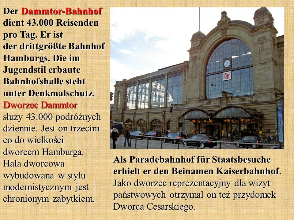 Als Paradebahnhof für Staatsbesuche erhielt er den Beinamen Kaiserbahnhof. Jako dworzec reprezentacyjny dla wizyt państwowych otrzymał on też przydome