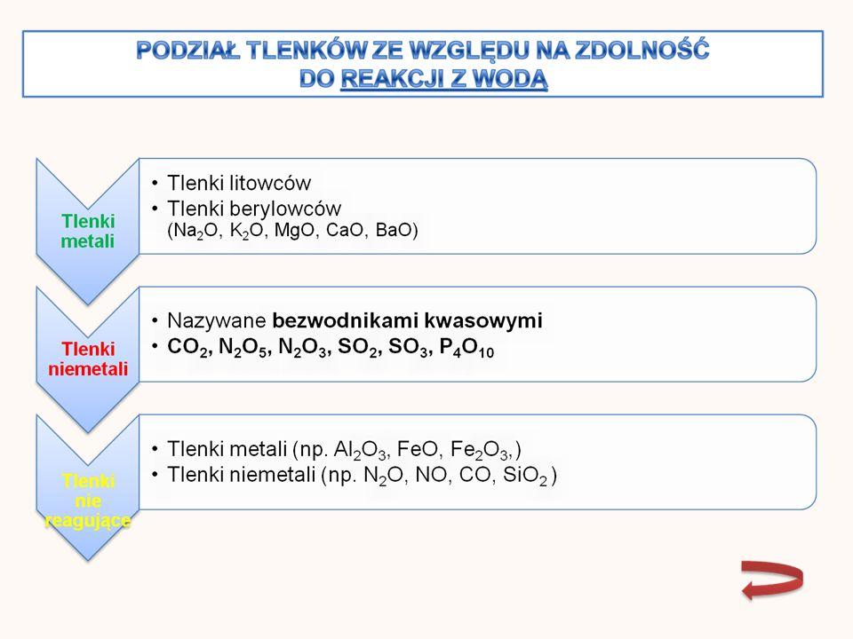 Tlenek węgla (IV) /CO 2 / Tlenek siarki (IV) /SO 2 / Tlenek siarki (VI) / SO 3 / Otrzymywanie dwuetapowe Tlenek azotu (III) / N 2 O 3 / Występuje w stanie wolnym tylko w niskich temperaturach w postaci cieczy o intensywnie niebieskiej barwie (poniżej -13°C), która krzepnie w temperaturze -102°C tworząc niebieskie kryształy.