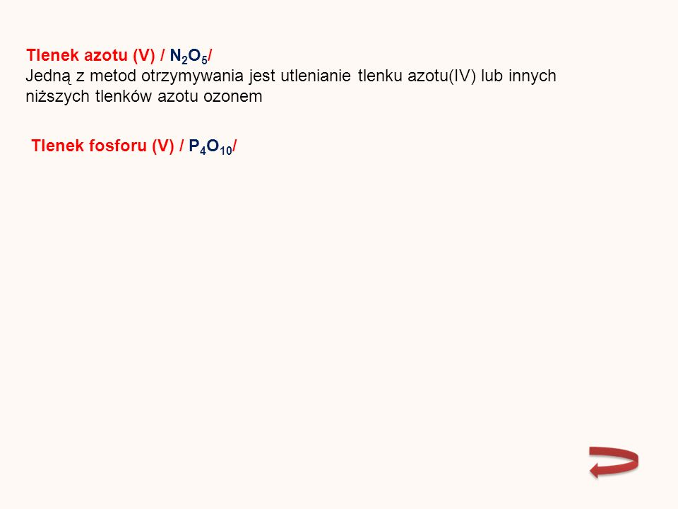TLENEKWZÓRREAKCJAPRODUKT Tlenek węgla(IV) CO 2 Kwas węglowy(IV) Tlenek siarki(IV) SO 2 Kwas siarkowy(IV) Tlenek siarki(VI) SO 3 Kwas siarkowy(VI) Tlenek azotu(III) N2O3N2O3 Kwas azotowy(III) Tlenek azotu(V) N2O5N2O5 Kwas azotowy(V) Tlenek fosforu(V) P 4 O 10 Kwas fosforowy(V) Produkty reakcji bezwodników kwasowych z wodą nazywamy kwasami tlenowymi
