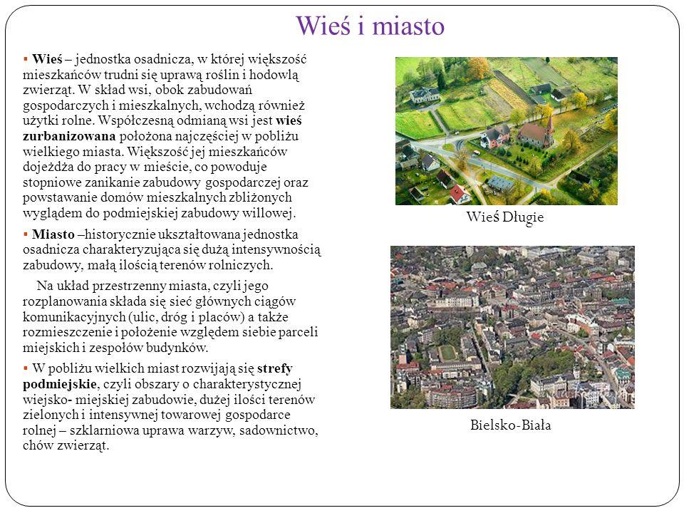 Typy wsi OKOLNICA (WIEŚ PLACOWA) Najstarszy typ wsi, jeszcze z czasów przedfeudalnych.