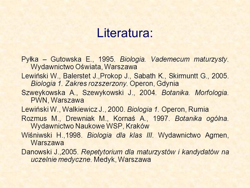 Literatura: Pyłka – Gutowska E., 1995. Biologia. Vademecum maturzysty. Wydawnictwo Oświata, Warszawa Lewiński W., Balerstet J.,Prokop J., Sabath K., S