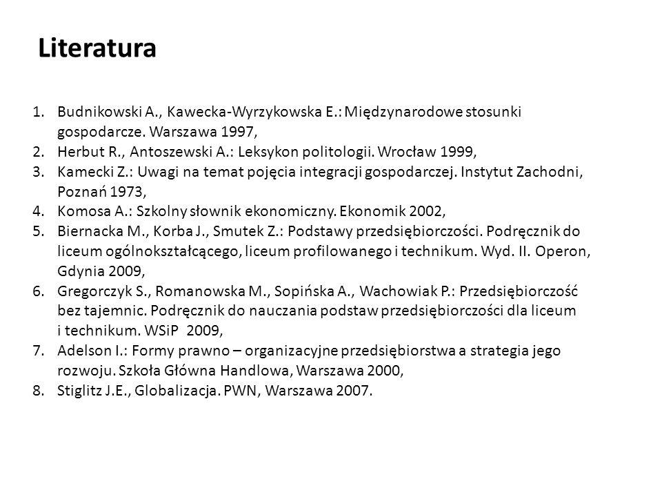 Literatura 1.Budnikowski A., Kawecka-Wyrzykowska E.: Międzynarodowe stosunki gospodarcze. Warszawa 1997, 2.Herbut R., Antoszewski A.: Leksykon politol
