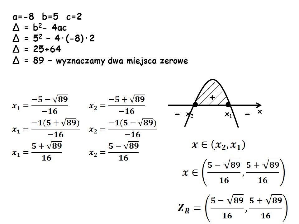 a=-8 b=5 c=2 Δ = b 2 - 4ac Δ = 5 2 – 4·(-8)·2 Δ = 25+64 Δ = 89 – wyznaczamy dwa miejsca zerowe x x 2 - - + x1x1 · ·