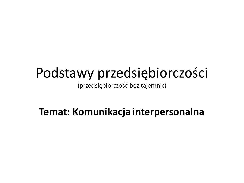 Podstawy przedsiębiorczości (przedsiębiorczość bez tajemnic) Temat: Komunikacja interpersonalna