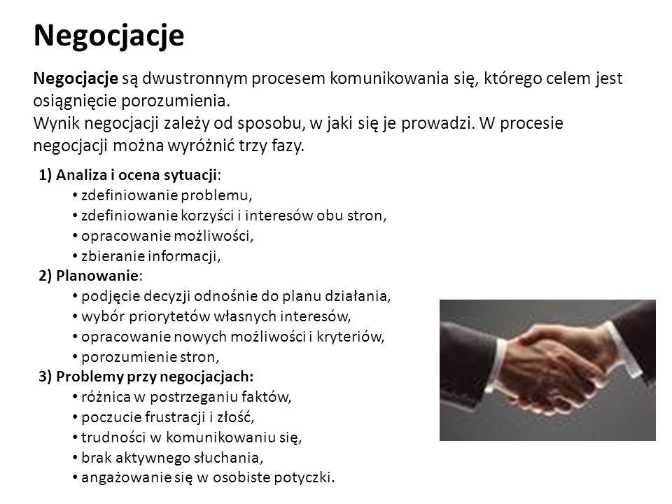 Negocjacje Negocjacje są dwustronnym procesem komunikowania się, którego celem jest osiągnięcie porozumienia. Wynik negocjacji zależy od sposobu, w ja