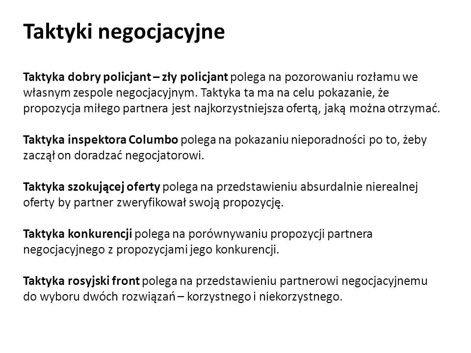 Taktyki negocjacyjne Taktyka dobry policjant – zły policjant polega na pozorowaniu rozłamu we własnym zespole negocjacyjnym. Taktyka ta ma na celu pok