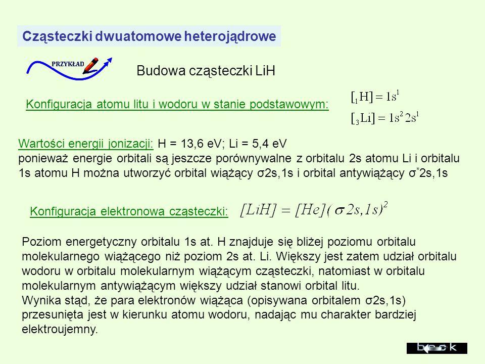 Cząsteczki dwuatomowe heterojądrowe Budowa cząsteczki LiH Konfiguracja atomu litu i wodoru w stanie podstawowym: Wartości energii jonizacji: H = 13,6