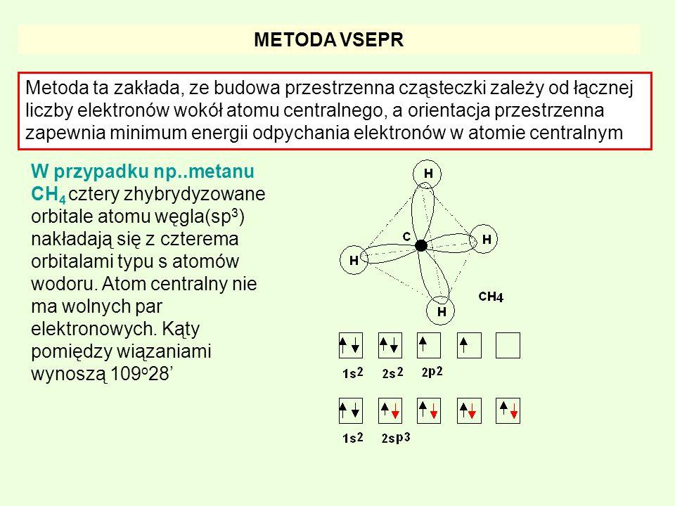 METODA VSEPR Metoda ta zakłada, ze budowa przestrzenna cząsteczki zależy od łącznej liczby elektronów wokół atomu centralnego, a orientacja przestrzen