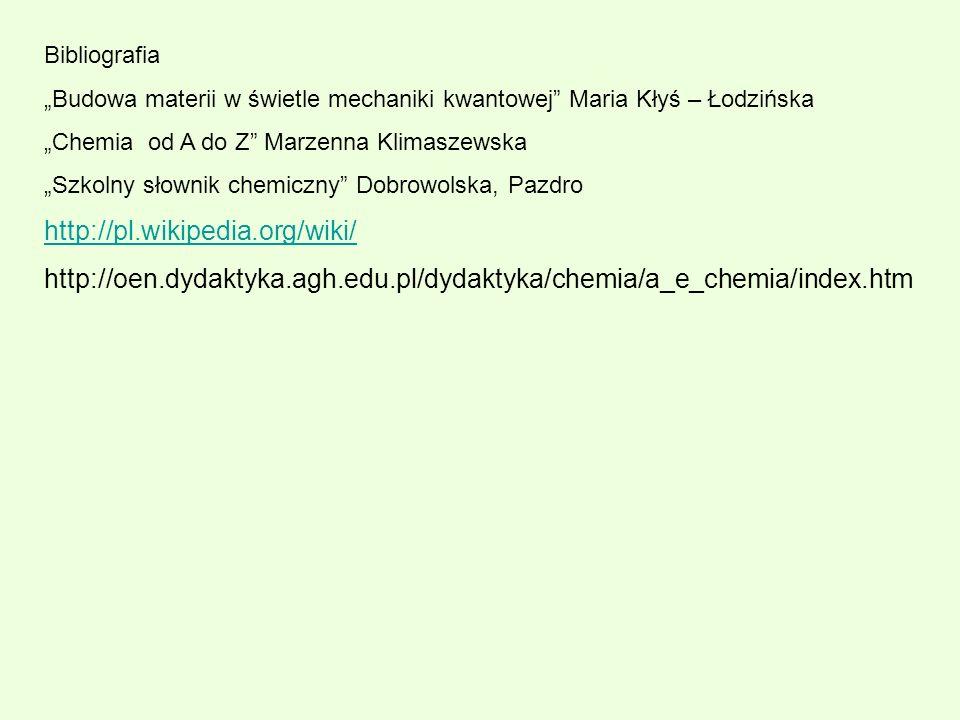 Bibliografia Budowa materii w świetle mechaniki kwantowej Maria Kłyś – Łodzińska Chemia od A do Z Marzenna Klimaszewska Szkolny słownik chemiczny Dobr