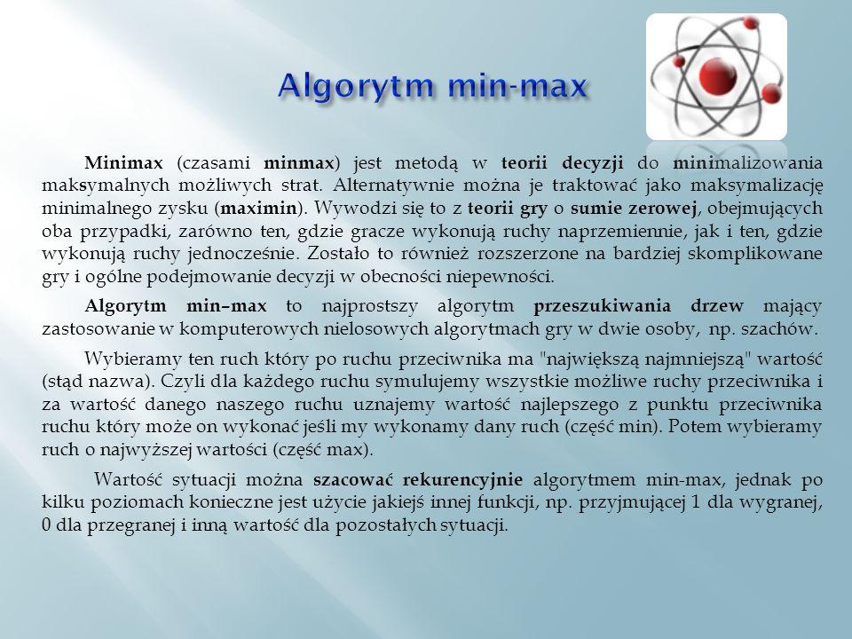 Minimax (czasami minmax ) jest metodą w teorii decyzji do mini malizowania mak s ymalnych możliwych strat.