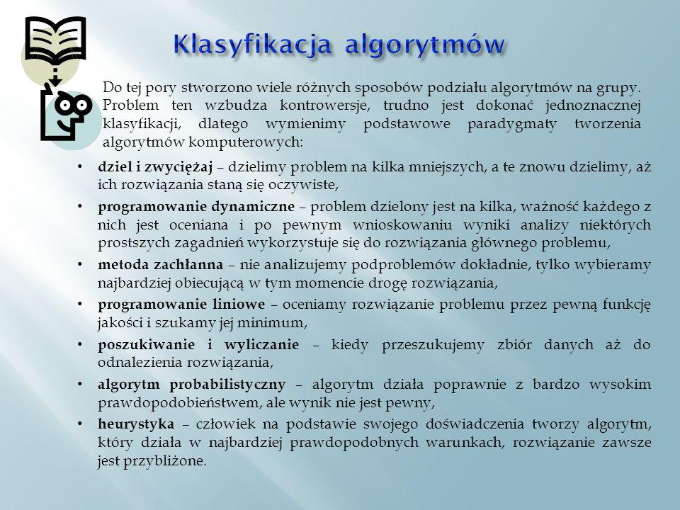 dziel i zwyciężaj – dzielimy problem na kilka mniejszych, a te znowu dzielimy, aż ich rozwiązania staną się oczywiste, programowanie dynamiczne – problem dzielony jest na kilka, ważność każdego z nich jest oceniana i po pewnym wnioskowaniu wyniki analizy niektórych prostszych zagadnień wykorzystuje się do rozwiązania głównego problemu, metoda zachłanna – nie analizujemy podproblemów dokładnie, tylko wybieramy najbardziej obiecującą w tym momencie drogę rozwiązania, programowanie liniowe – oceniamy rozwiązanie problemu przez pewną funkcję jakości i szukamy jej minimum, poszukiwanie i wyliczanie – kiedy przeszukujemy zbiór danych aż do odnalezienia rozwiązania, algorytm probabilistyczny – algorytm działa poprawnie z bardzo wysokim prawdopodobieństwem, ale wynik nie jest pewny, heurystyka – człowiek na podstawie swojego doświadczenia tworzy algorytm, który działa w najbardziej prawdopodobnych warunkach, rozwiązanie zawsze jest przybliżone.