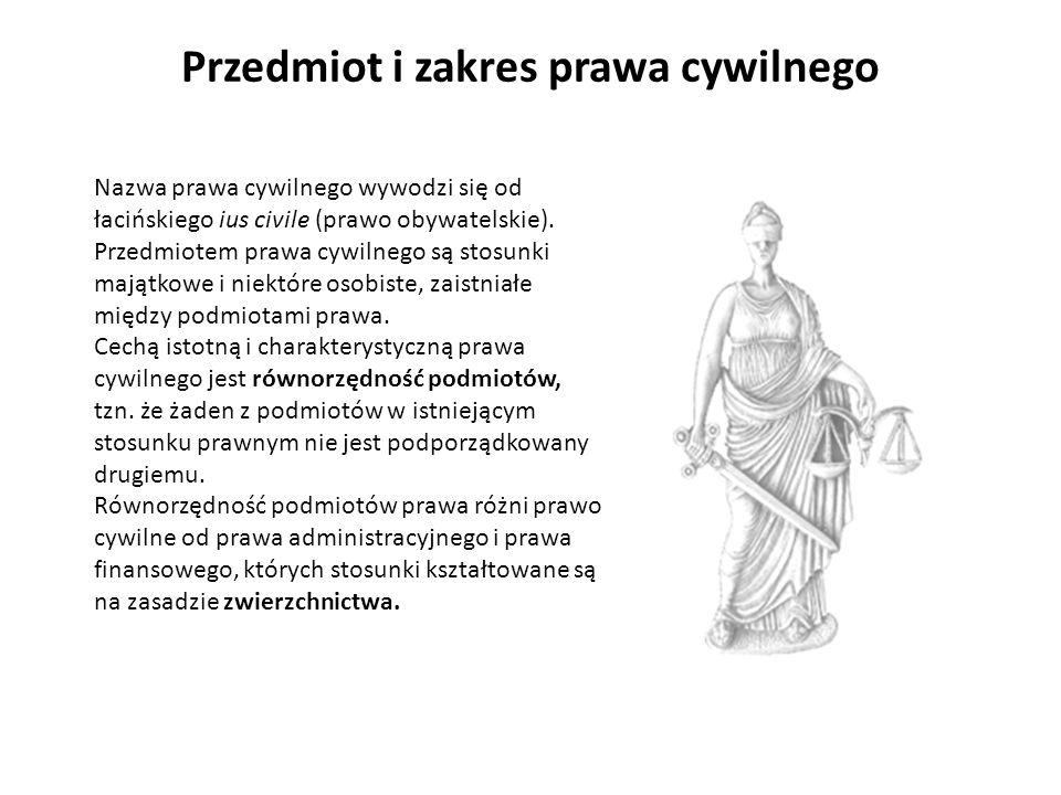 Przedmiot i zakres prawa cywilnego Nazwa prawa cywilnego wywodzi się od łacińskiego ius civile (prawo obywatelskie). Przedmiotem prawa cywilnego są st