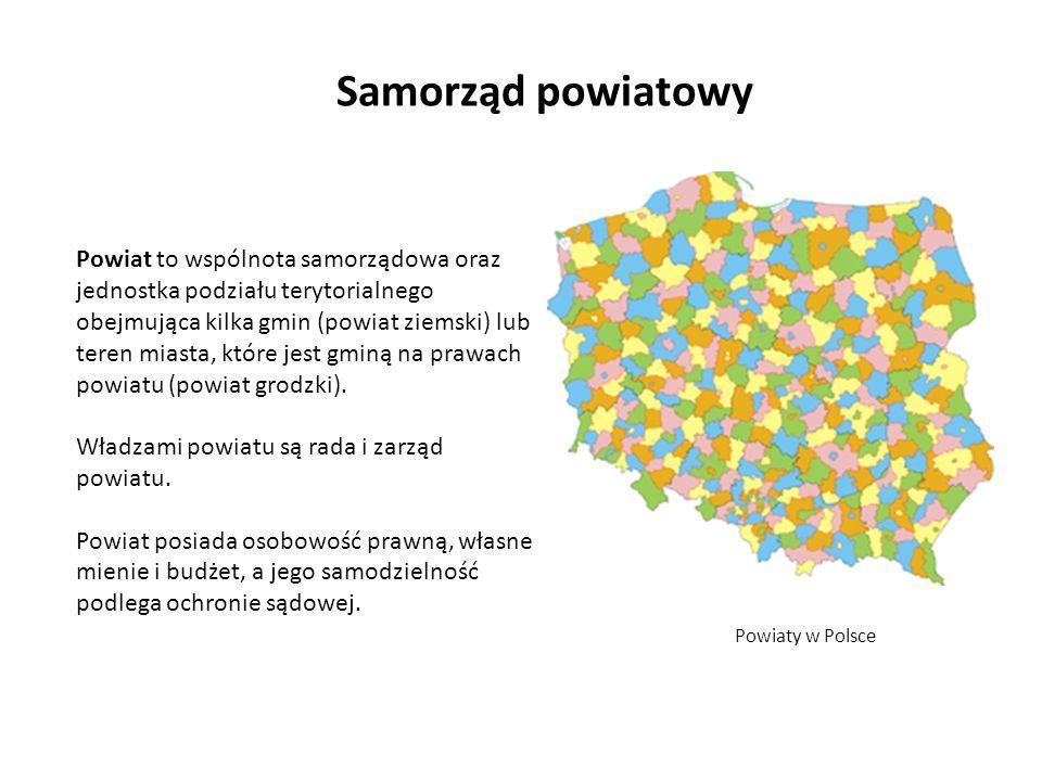 Samorząd powiatowy Powiaty w Polsce Powiat to wspólnota samorządowa oraz jednostka podziału terytorialnego obejmująca kilka gmin (powiat ziemski) lub