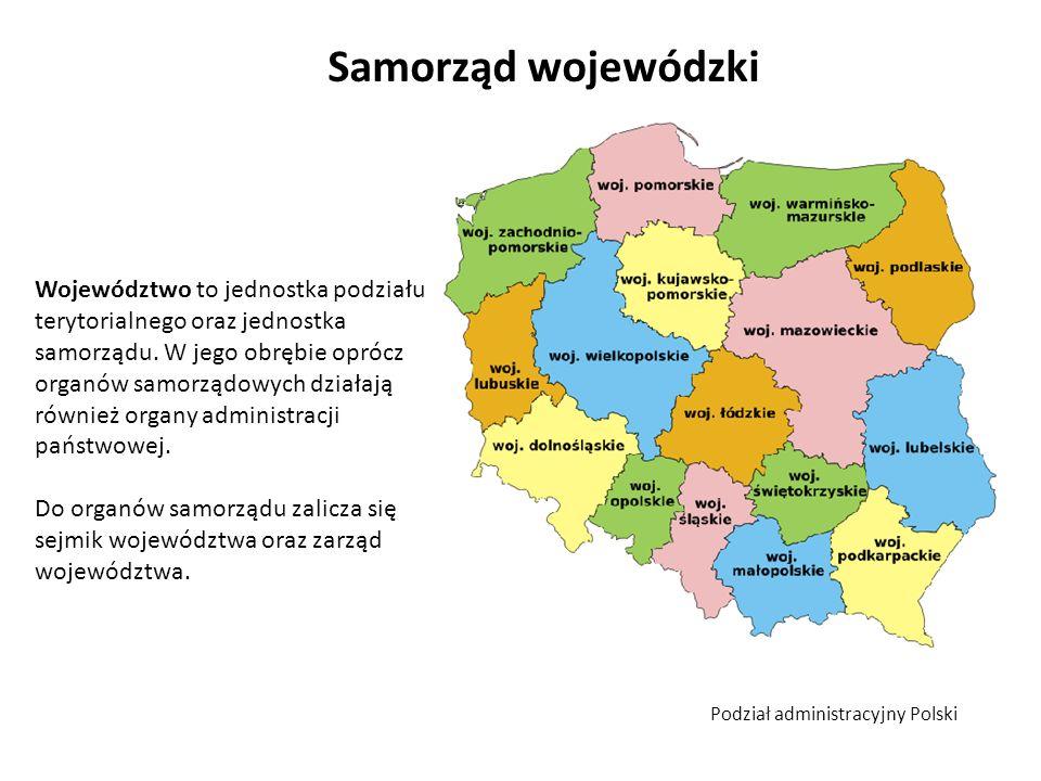 Samorząd wojewódzki Województwo to jednostka podziału terytorialnego oraz jednostka samorządu. W jego obrębie oprócz organów samorządowych działają ró