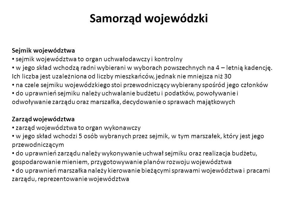 Sejmik województwa sejmik województwa to organ uchwałodawczy i kontrolny w jego skład wchodzą radni wybierani w wyborach powszechnych na 4 – letnią ka