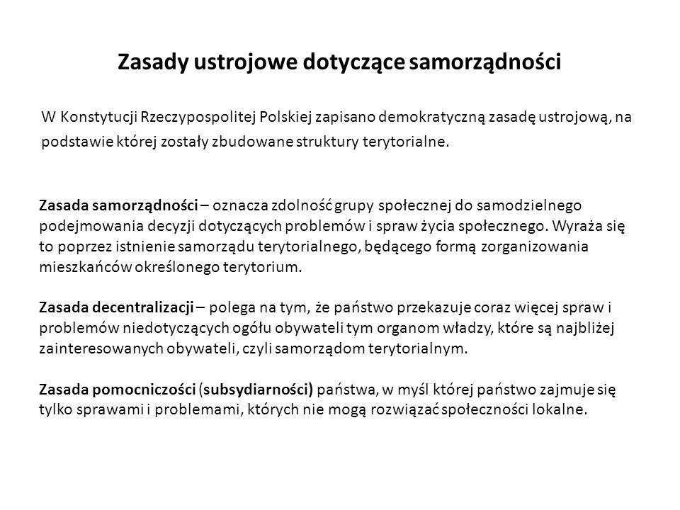 Zasady ustrojowe dotyczące samorządności W Konstytucji Rzeczypospolitej Polskiej zapisano demokratyczną zasadę ustrojową, na podstawie której zostały