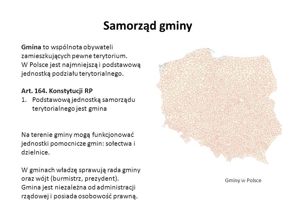 Samorząd gminy Gmina to wspólnota obywateli zamieszkujących pewne terytorium. W Polsce jest najmniejszą i podstawową jednostką podziału terytorialnego