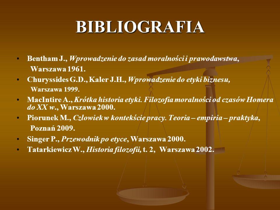 BIBLIOGRAFIA Bentham J., Wprowadzenie do zasad moralności i prawodawstwa, Warszawa 1961. Churyssides G.D., Kaler J.H., Wprowadzenie do etyki biznesu,
