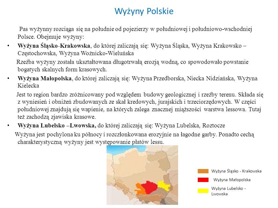 Wyżyny Polskie Pas wyżynny rozciąga się na południe od pojezierzy w południowej i południowo-wschodniej Polsce. Obejmuje wyżyny: Wyżyna Śląsko-Krakows