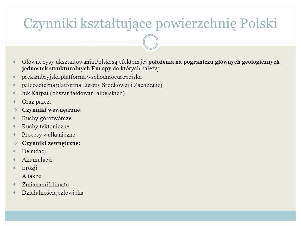 Czynniki kształtujące powierzchnię Polski Główne rysy ukształtowania Polski są efektem jej położenia na pograniczu głównych geologicznych jednostek st