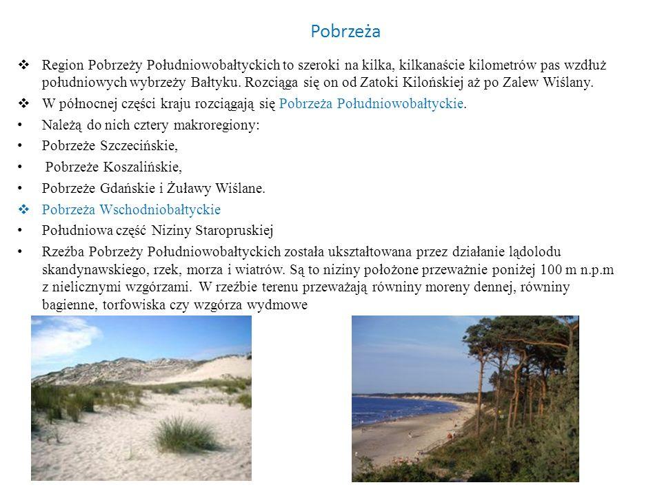 Pobrzeża Region Pobrzeży Południowobałtyckich to szeroki na kilka, kilkanaście kilometrów pas wzdłuż południowych wybrzeży Bałtyku. Rozciąga się on od