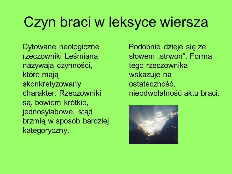 Czyn braci w leksyce wiersza Cytowane neologiczne rzeczowniki Leśmiana nazywają czynności, które mają skonkretyzowany charakter. Rzeczowniki są, bowie