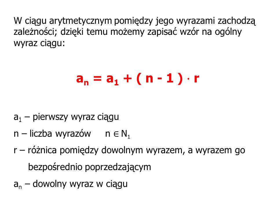 W ciągu arytmetycznym pomiędzy jego wyrazami zachodzą zależności; dzięki temu możemy zapisać wzór na ogólny wyraz ciągu: a n = a 1 + ( n - 1 ) · r a 1