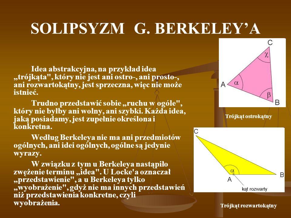 SOLIPSYZM G. BERKELEYA Idea abstrakcyjna, na przykład idea trójkąta