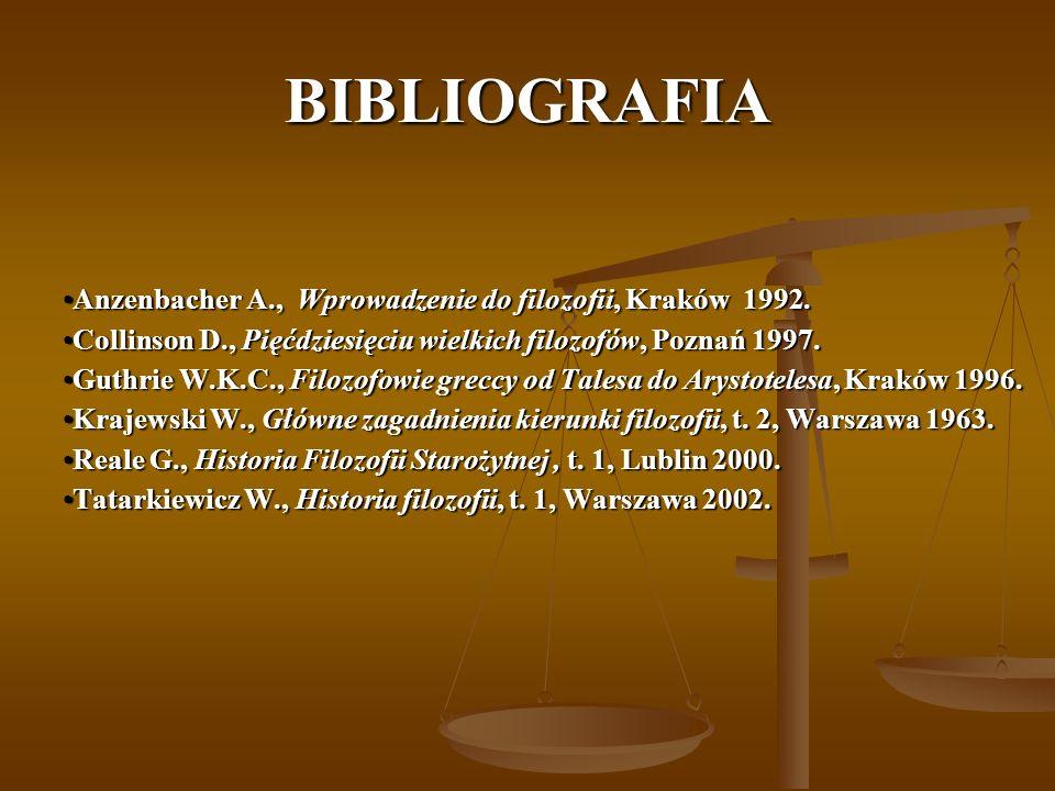 BIBLIOGRAFIA Anzenbacher A., Wprowadzenie do filozofii, Kraków 1992.Anzenbacher A., Wprowadzenie do filozofii, Kraków 1992. Collinson D., Pięćdziesięc