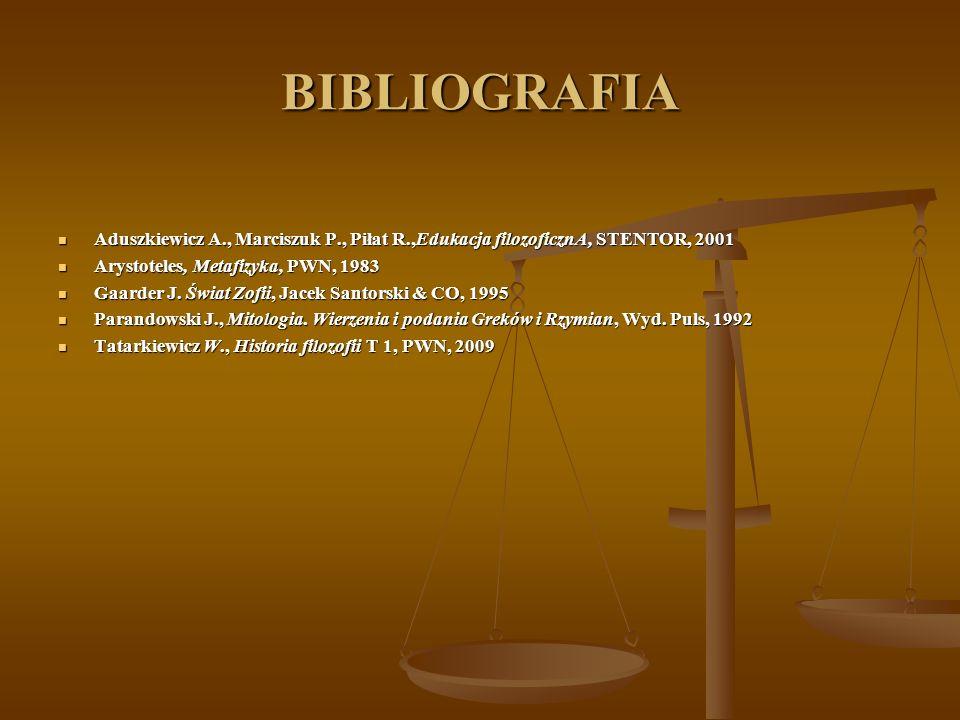 BIBLIOGRAFIA Aduszkiewicz A., Marciszuk P., Piłat R.,Edukacja filozoficznA, STENTOR, 2001 Aduszkiewicz A., Marciszuk P., Piłat R.,Edukacja filozoficzn