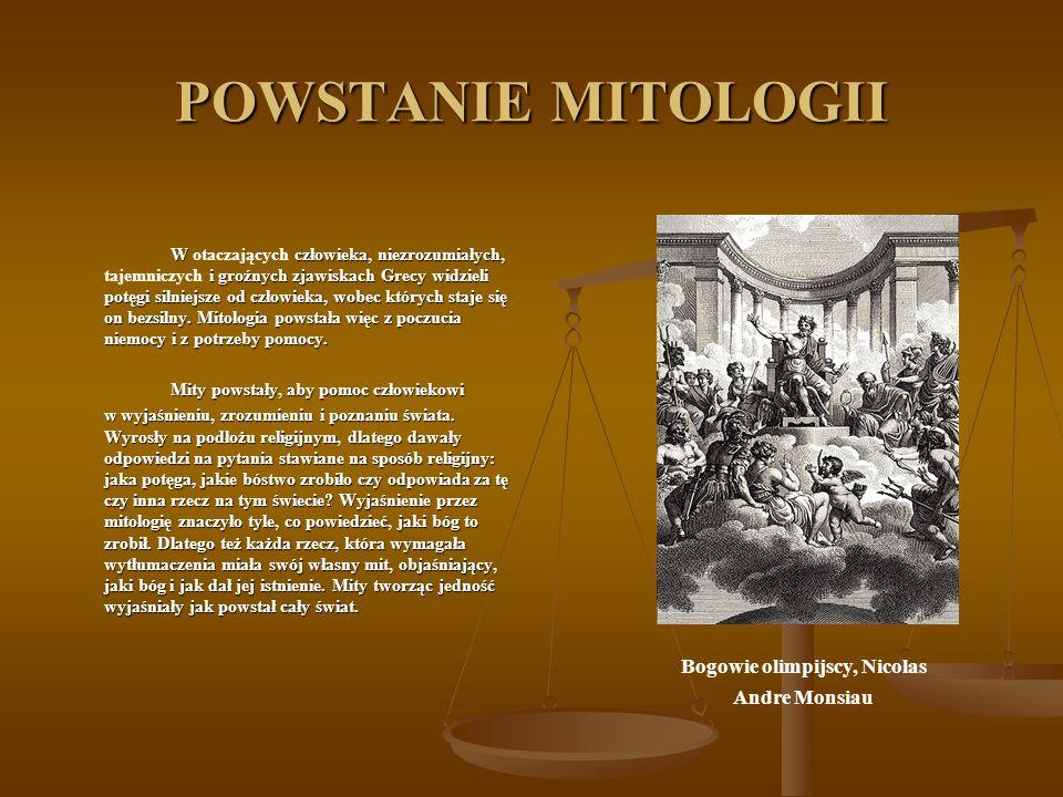 POWSTANIE MITOLOGII W człowieka, niezrozumiałych, i groźnych zjawiskach Grecy widzieli potęgi silniejsze od człowieka, wobec których staje się on bezs