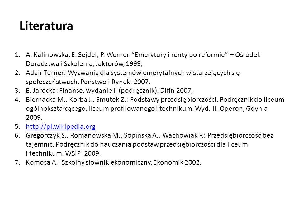 1.A. Kalinowska, E. Sejdel, P. Werner Emerytury i renty po reformie – Ośrodek Doradztwa i Szkolenia, Jaktorów, 1999, 2.Adair Turner: Wyzwania dla syst