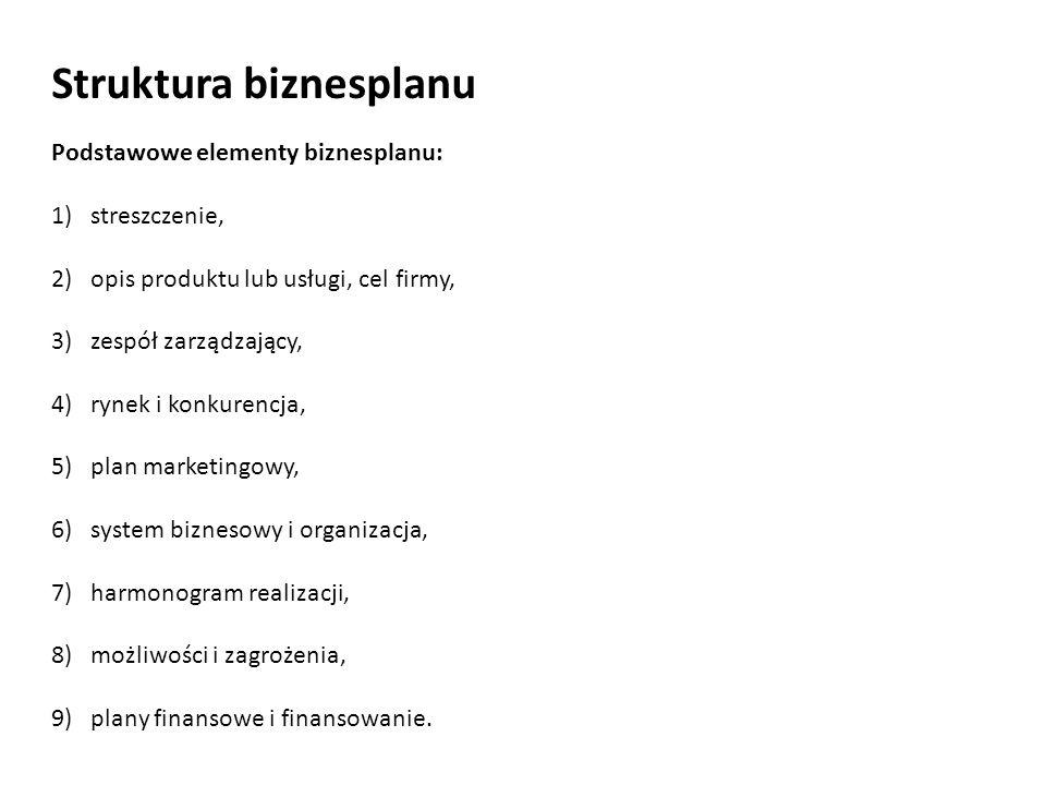Struktura biznesplanu Podstawowe elementy biznesplanu: 1)streszczenie, 2)opis produktu lub usługi, cel firmy, 3)zespół zarządzający, 4)rynek i konkure