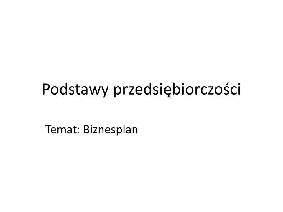 Struktura biznesplanu 1)Streszczenie To samodzielny element biznesplanu będący przejrzystym, przekonującym i zwięzłym opisem pomysłu.