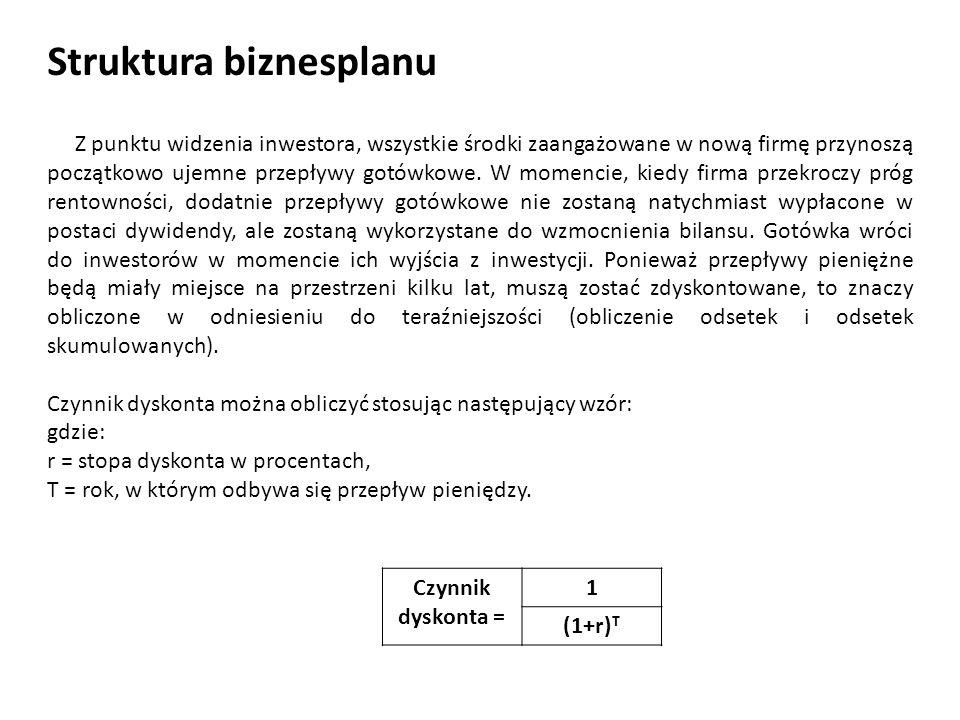 Struktura biznesplanu Z punktu widzenia inwestora, wszystkie środki zaangażowane w nową firmę przynoszą początkowo ujemne przepływy gotówkowe. W momen