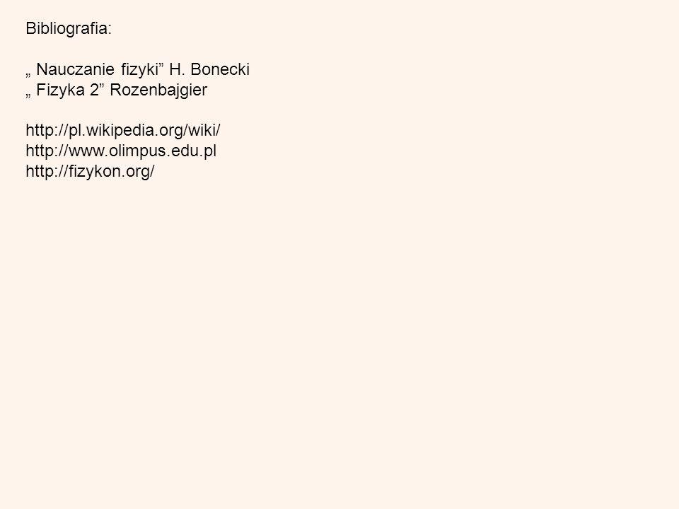 Bibliografia: Nauczanie fizyki H. Bonecki Fizyka 2 Rozenbajgier http://pl.wikipedia.org/wiki/ http://www.olimpus.edu.pl http://fizykon.org/