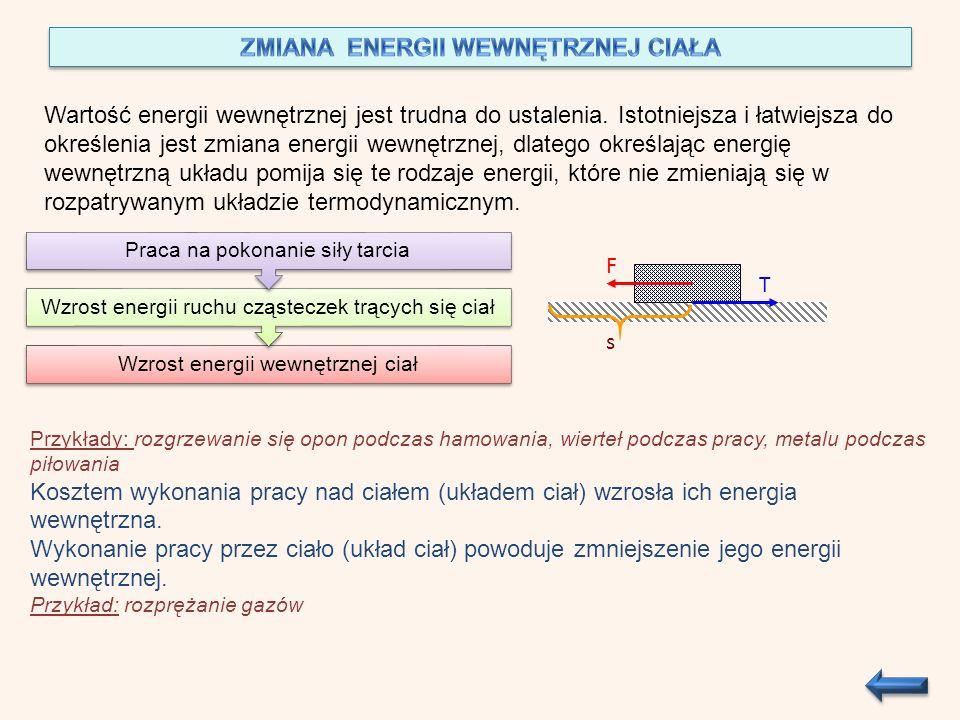 Wartość energii wewnętrznej jest trudna do ustalenia. Istotniejsza i łatwiejsza do określenia jest zmiana energii wewnętrznej, dlatego określając ener