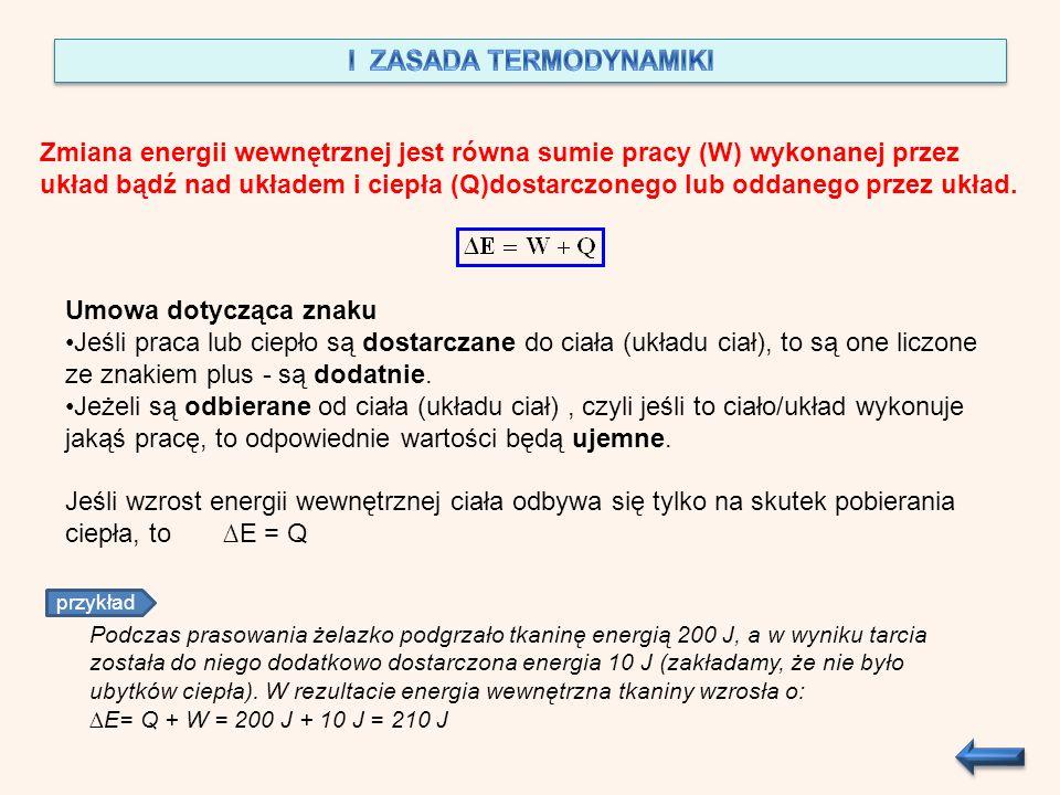 Zmiana energii wewnętrznej jest równa sumie pracy (W) wykonanej przez układ bądź nad układem i ciepła (Q)dostarczonego lub oddanego przez układ. Umowa