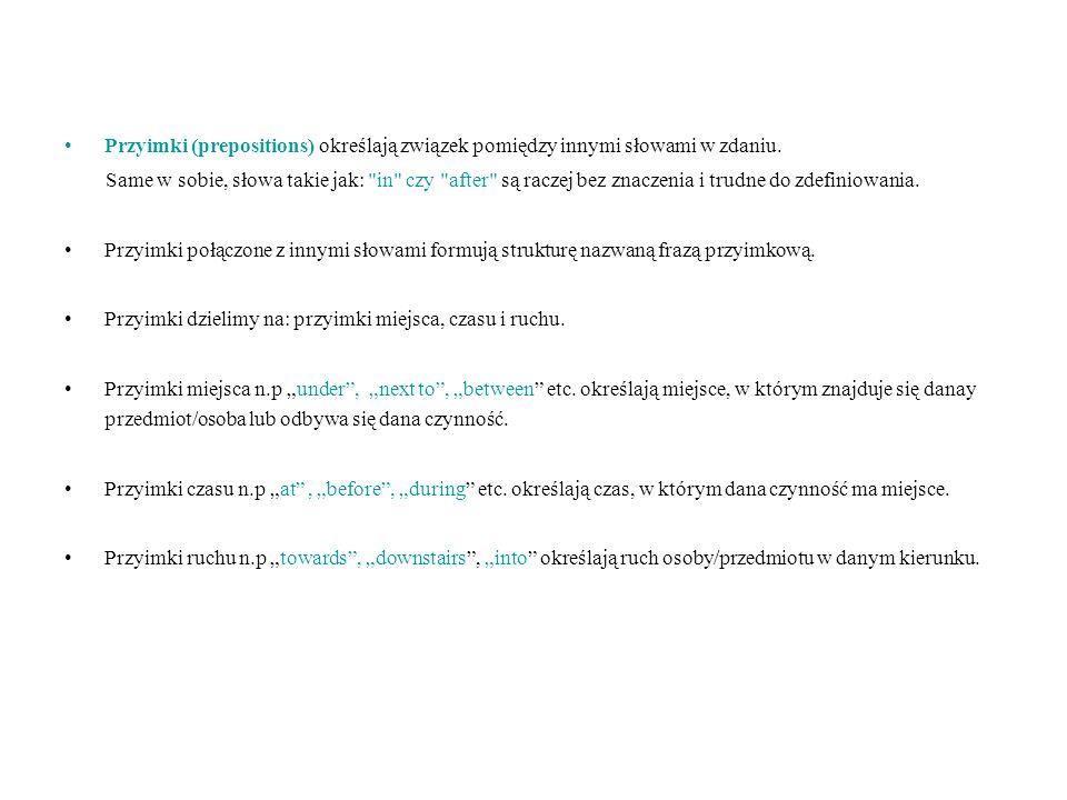 Przyimki (prepositions) określają związek pomiędzy innymi słowami w zdaniu. Same w sobie, słowa takie jak: