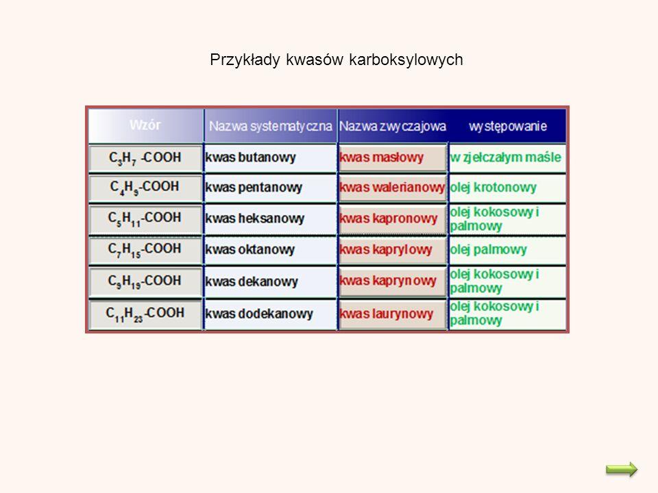 Przykłady kwasów karboksylowych