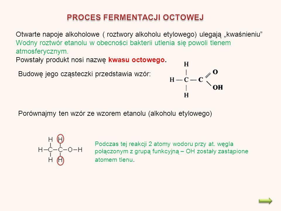 Otwarte napoje alkoholowe ( roztwory alkoholu etylowego) ulegają kwaśnieniu Wodny roztwór etanolu w obecności bakterii utlenia się powoli tlenem atmosferycznym.