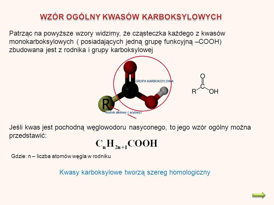 Patrząc na powyższe wzory widzimy, że cząsteczka każdego z kwasów monokarboksylowych ( posiadających jedną grupę funkcyjną –COOH) zbudowana jest z rodnika i grupy karboksylowej Jeśli kwas jest pochodną węglowodoru nasyconego, to jego wzór ogólny można przedstawić: Gdzie: n – liczba atomów węgla w rodniku Kwasy karboksylowe tworzą szereg homologiczny
