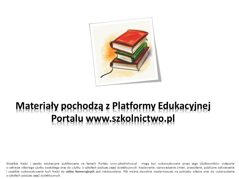 Wszelkie treści i zasoby edukacyjne publikowane na łamach Portalu www.szkolnictwo.pl mogą być wykorzystywane przez jego Użytkowników wyłącznie w zakre