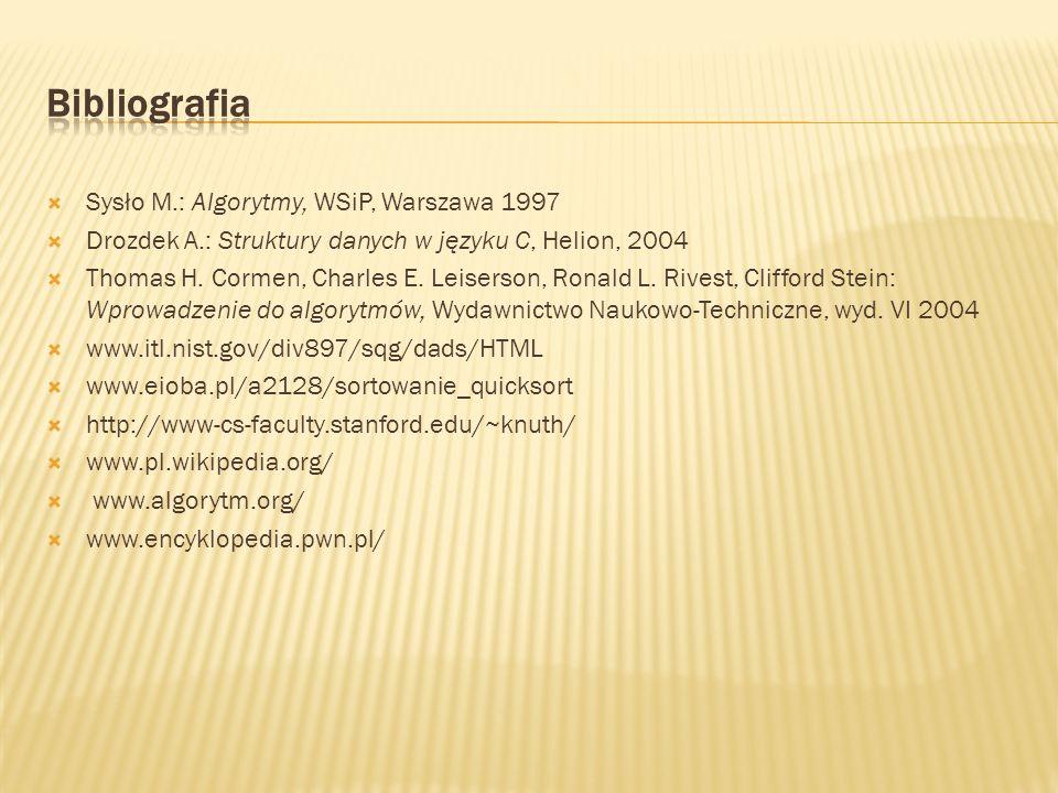 Sysło M.: Algorytmy, WSiP, Warszawa 1997 Drozdek A.: Struktury danych w języku C, Helion, 2004 Thomas H. Cormen, Charles E. Leiserson, Ronald L. Rives