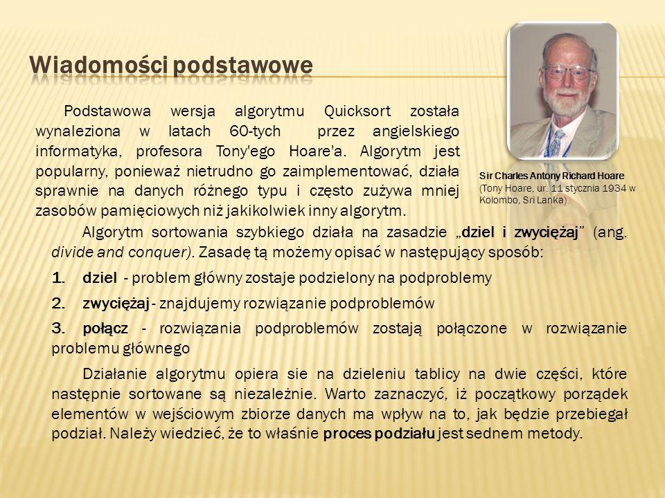 Podstawowa wersja algorytmu Quicksort została wynaleziona w latach 60-tych przez angielskiego informatyka, profesora Tony'ego Hoare'a. Algorytm jest p