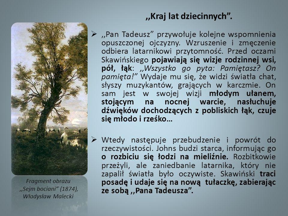 ,,Kraj lat dziecinnych.,,Pan Tadeusz przywołuje kolejne wspomnienia opuszczonej ojczyzny. Wzruszenie i zmęczenie odbiera latarnikowi przytomność. Prze