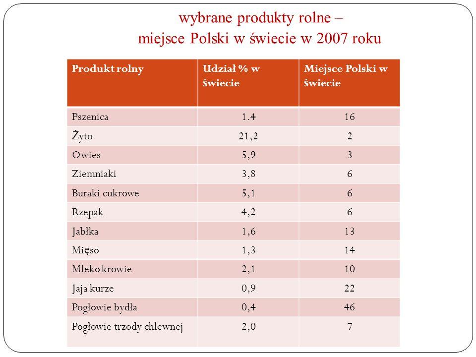 wybrane produkty rolne – miejsce Polski w świecie w 2007 roku Produkt rolnyUdział % w ś wiecie Miejsce Polski w ś wiecie Pszenica1.416 Ż yto21,22 Owie