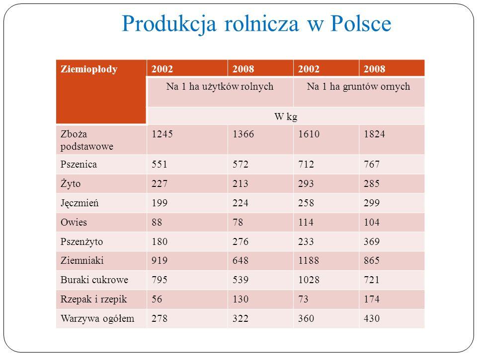 Produkcja rolnicza w Polsce Ziemiopłody2002200820022008 Na 1 ha użytków rolnychNa 1 ha gruntów ornych W kg Zboża podstawowe 1245136616101824 Pszenica5